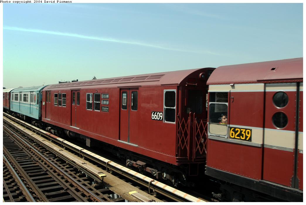 (142k, 1044x701)<br><b>Country:</b> United States<br><b>City:</b> New York<br><b>System:</b> New York City Transit<br><b>Line:</b> IRT Pelham Line<br><b>Location:</b> Zerega Avenue<br><b>Route:</b> Fan Trip<br><b>Car:</b> R-17 (St. Louis, 1955-56) 6609 <br><b>Photo by:</b> David Pirmann<br><b>Date:</b> 4/17/2004<br><b>Viewed (this week/total):</b> 2 / 3063