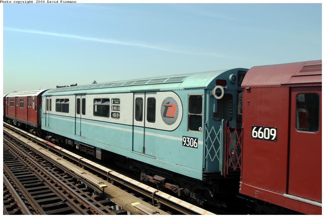 (146k, 1044x701)<br><b>Country:</b> United States<br><b>City:</b> New York<br><b>System:</b> New York City Transit<br><b>Line:</b> IRT Pelham Line<br><b>Location:</b> Zerega Avenue<br><b>Route:</b> Fan Trip<br><b>Car:</b> R-33 World's Fair (St. Louis, 1963-64) 9306 <br><b>Photo by:</b> David Pirmann<br><b>Date:</b> 4/17/2004<br><b>Viewed (this week/total):</b> 1 / 3161