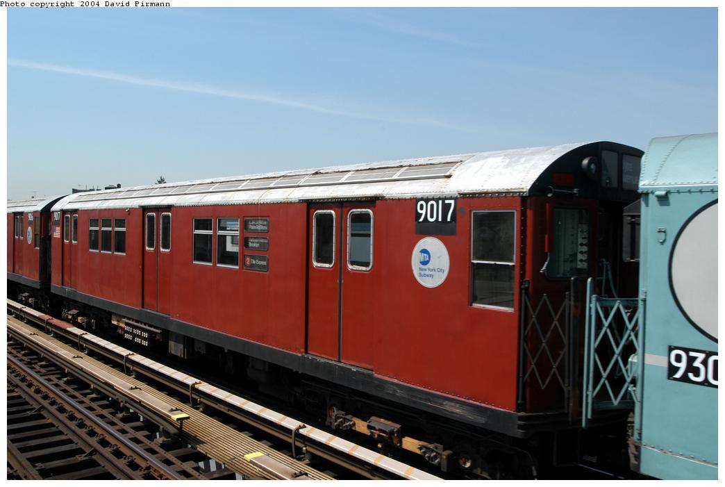 (135k, 1044x701)<br><b>Country:</b> United States<br><b>City:</b> New York<br><b>System:</b> New York City Transit<br><b>Line:</b> IRT Pelham Line<br><b>Location:</b> Zerega Avenue<br><b>Route:</b> Fan Trip<br><b>Car:</b> R-33 Main Line (St. Louis, 1962-63) 9017 <br><b>Photo by:</b> David Pirmann<br><b>Date:</b> 4/17/2004<br><b>Viewed (this week/total):</b> 0 / 3656