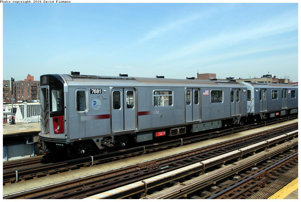 (168k, 1044x701)<br><b>Country:</b> United States<br><b>City:</b> New York<br><b>System:</b> New York City Transit<br><b>Line:</b> IRT Pelham Line<br><b>Location:</b> Zerega Avenue<br><b>Route:</b> 6<br><b>Car:</b> R-142A (Option Order, Kawasaki, 2002-2003) 7681 <br><b>Photo by:</b> David Pirmann<br><b>Date:</b> 4/17/2004<br><b>Viewed (this week/total):</b> 0 / 3913