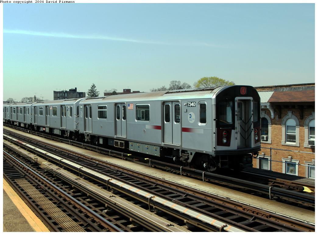 (166k, 1044x773)<br><b>Country:</b> United States<br><b>City:</b> New York<br><b>System:</b> New York City Transit<br><b>Line:</b> IRT Pelham Line<br><b>Location:</b> Zerega Avenue<br><b>Route:</b> 6<br><b>Car:</b> R-142A (Primary Order, Kawasaki, 1999-2002) 7340 <br><b>Photo by:</b> David Pirmann<br><b>Date:</b> 4/17/2004<br><b>Viewed (this week/total):</b> 0 / 3558