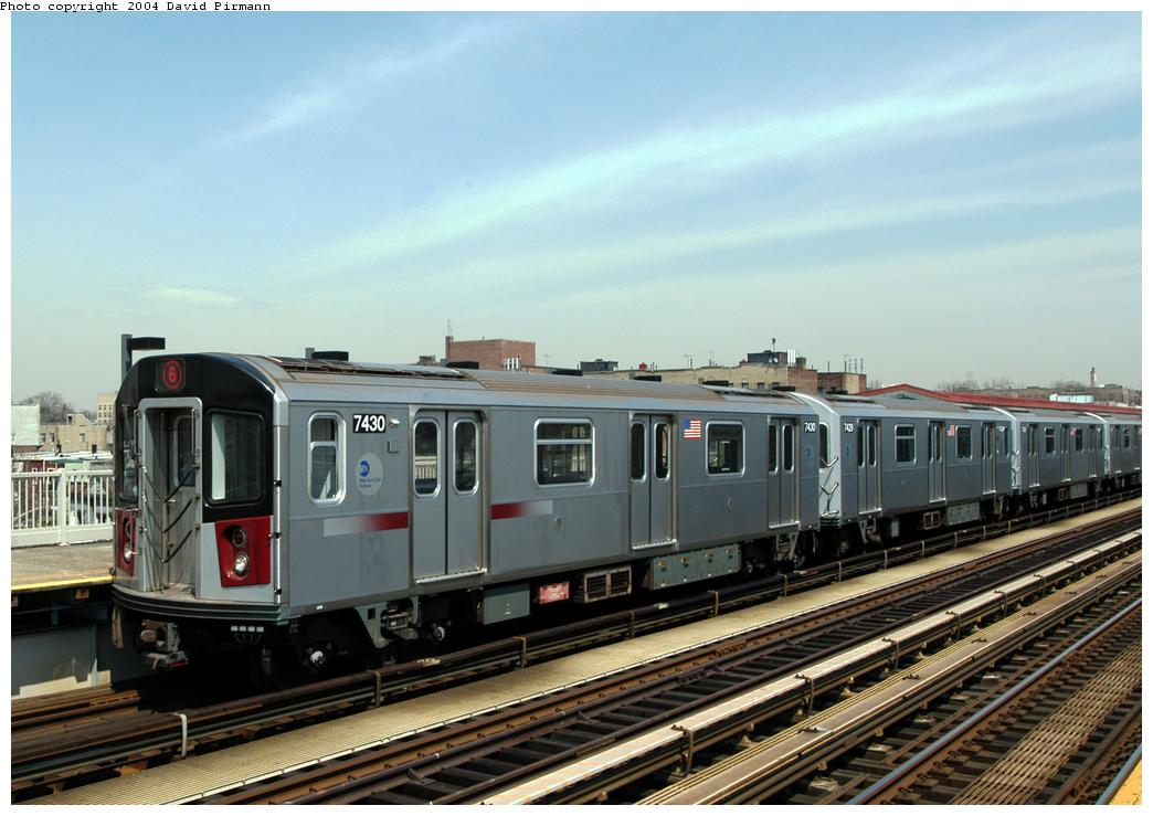 (160k, 1044x739)<br><b>Country:</b> United States<br><b>City:</b> New York<br><b>System:</b> New York City Transit<br><b>Line:</b> IRT Pelham Line<br><b>Location:</b> Zerega Avenue<br><b>Route:</b> 6<br><b>Car:</b> R-142A (Primary Order, Kawasaki, 1999-2002) 7430 <br><b>Photo by:</b> David Pirmann<br><b>Date:</b> 4/17/2004<br><b>Viewed (this week/total):</b> 0 / 3812