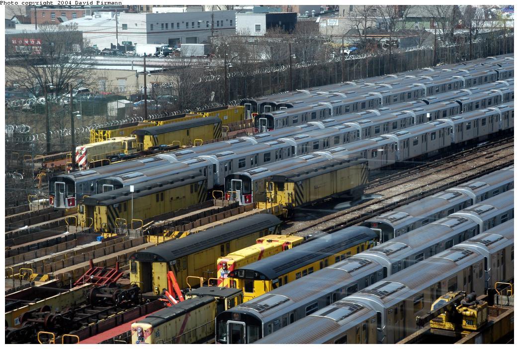 (206k, 1044x701)<br><b>Country:</b> United States<br><b>City:</b> New York<br><b>System:</b> New York City Transit<br><b>Location:</b> Westchester Yard<br><b>Photo by:</b> David Pirmann<br><b>Date:</b> 4/17/2004<br><b>Viewed (this week/total):</b> 0 / 3579