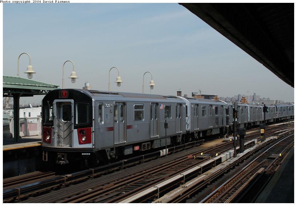 (144k, 1044x723)<br><b>Country:</b> United States<br><b>City:</b> New York<br><b>System:</b> New York City Transit<br><b>Line:</b> IRT Pelham Line<br><b>Location:</b> Westchester Square<br><b>Route:</b> 6<br><b>Car:</b> R-142A (Primary Order, Kawasaki, 1999-2002) 7525 <br><b>Photo by:</b> David Pirmann<br><b>Date:</b> 4/17/2004<br><b>Viewed (this week/total):</b> 0 / 4720