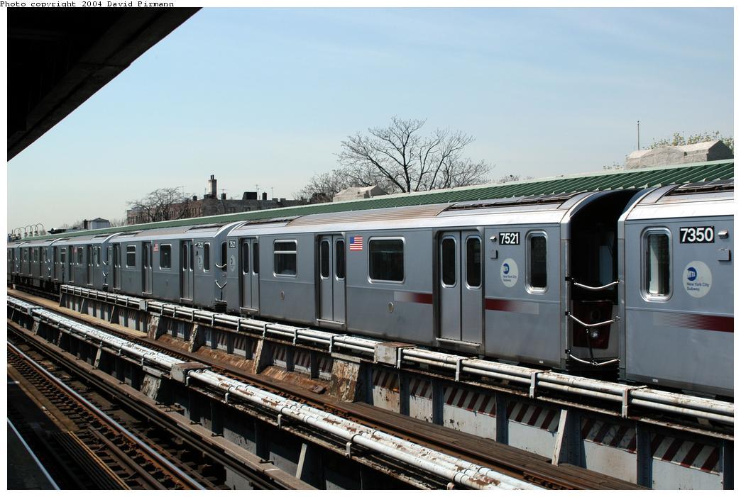 (161k, 1044x701)<br><b>Country:</b> United States<br><b>City:</b> New York<br><b>System:</b> New York City Transit<br><b>Line:</b> IRT Pelham Line<br><b>Location:</b> Westchester Square<br><b>Route:</b> 6<br><b>Car:</b> R-142A (Primary Order, Kawasaki, 1999-2002) 7521 <br><b>Photo by:</b> David Pirmann<br><b>Date:</b> 4/17/2004<br><b>Viewed (this week/total):</b> 0 / 5109