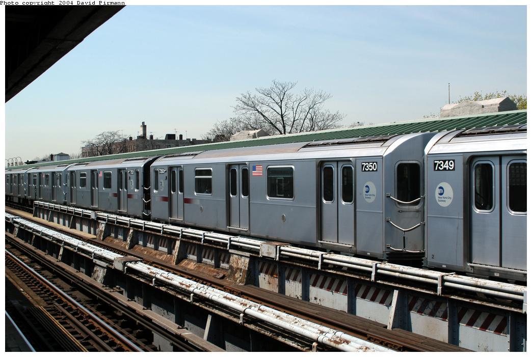 (164k, 1044x701)<br><b>Country:</b> United States<br><b>City:</b> New York<br><b>System:</b> New York City Transit<br><b>Line:</b> IRT Pelham Line<br><b>Location:</b> Westchester Square<br><b>Route:</b> 6<br><b>Car:</b> R-142A (Primary Order, Kawasaki, 1999-2002) 7350 <br><b>Photo by:</b> David Pirmann<br><b>Date:</b> 4/17/2004<br><b>Viewed (this week/total):</b> 1 / 4175