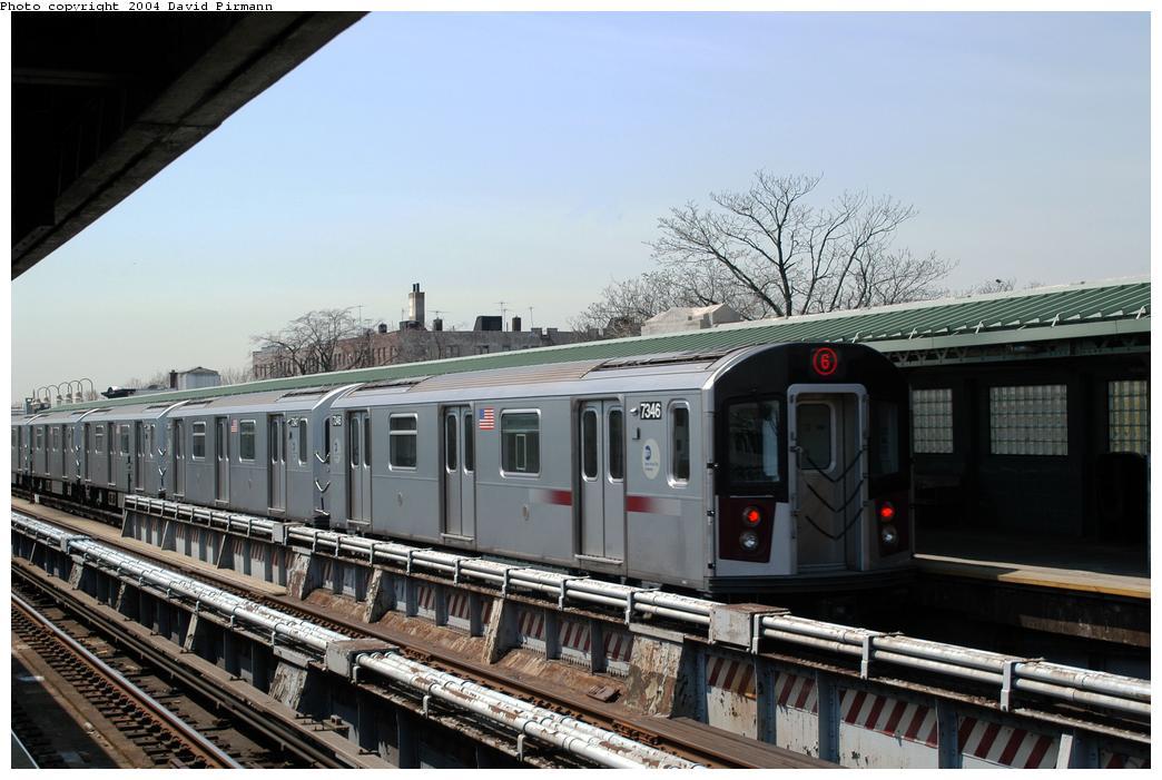 (157k, 1044x701)<br><b>Country:</b> United States<br><b>City:</b> New York<br><b>System:</b> New York City Transit<br><b>Line:</b> IRT Pelham Line<br><b>Location:</b> Westchester Square<br><b>Route:</b> 6<br><b>Car:</b> R-142A (Primary Order, Kawasaki, 1999-2002) 7346 <br><b>Photo by:</b> David Pirmann<br><b>Date:</b> 4/17/2004<br><b>Viewed (this week/total):</b> 0 / 4261