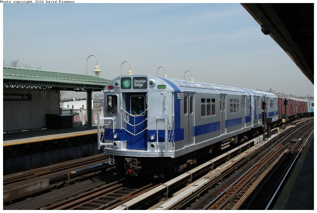 (146k, 1044x701)<br><b>Country:</b> United States<br><b>City:</b> New York<br><b>System:</b> New York City Transit<br><b>Line:</b> IRT Pelham Line<br><b>Location:</b> Westchester Square<br><b>Route:</b> Fan Trip<br><b>Car:</b> R-33 Main Line (St. Louis, 1962-63) 9010 <br><b>Photo by:</b> David Pirmann<br><b>Date:</b> 4/17/2004<br><b>Viewed (this week/total):</b> 0 / 5110
