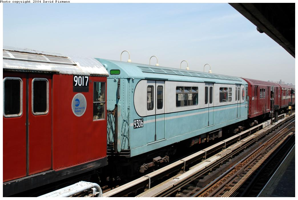 (157k, 1044x701)<br><b>Country:</b> United States<br><b>City:</b> New York<br><b>System:</b> New York City Transit<br><b>Line:</b> IRT Pelham Line<br><b>Location:</b> Westchester Square<br><b>Route:</b> Fan Trip<br><b>Car:</b> R-33 World's Fair (St. Louis, 1963-64) 9306 <br><b>Photo by:</b> David Pirmann<br><b>Date:</b> 4/17/2004<br><b>Viewed (this week/total):</b> 0 / 3623
