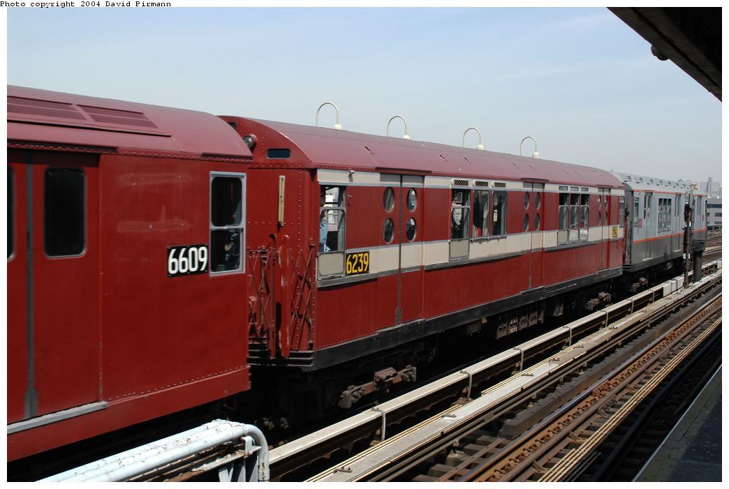 (143k, 1044x701)<br><b>Country:</b> United States<br><b>City:</b> New York<br><b>System:</b> New York City Transit<br><b>Line:</b> IRT Pelham Line<br><b>Location:</b> Westchester Square<br><b>Route:</b> Fan Trip<br><b>Car:</b> R-15 (American Car & Foundry, 1950) 6239 <br><b>Photo by:</b> David Pirmann<br><b>Date:</b> 4/17/2004<br><b>Viewed (this week/total):</b> 0 / 3184