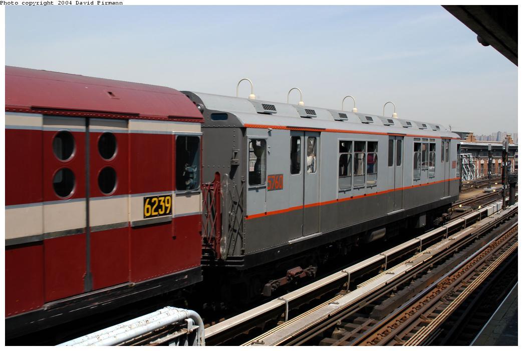 (150k, 1044x701)<br><b>Country:</b> United States<br><b>City:</b> New York<br><b>System:</b> New York City Transit<br><b>Line:</b> IRT Pelham Line<br><b>Location:</b> Westchester Square<br><b>Route:</b> Fan Trip<br><b>Car:</b> R-12 (American Car & Foundry, 1948) 5760 <br><b>Photo by:</b> David Pirmann<br><b>Date:</b> 4/17/2004<br><b>Viewed (this week/total):</b> 0 / 3198