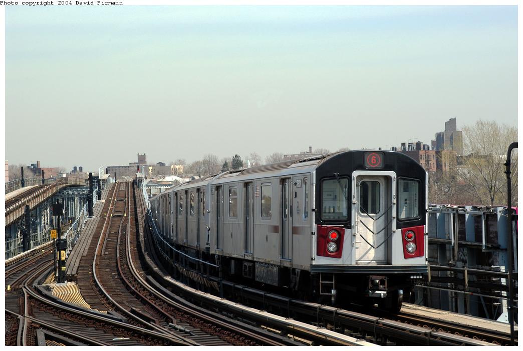 (157k, 1044x701)<br><b>Country:</b> United States<br><b>City:</b> New York<br><b>System:</b> New York City Transit<br><b>Line:</b> IRT Pelham Line<br><b>Location:</b> Westchester Square<br><b>Route:</b> 6<br><b>Car:</b> R-142A (Primary Order, Kawasaki, 1999-2002) 7601 <br><b>Photo by:</b> David Pirmann<br><b>Date:</b> 4/17/2004<br><b>Viewed (this week/total):</b> 0 / 6187