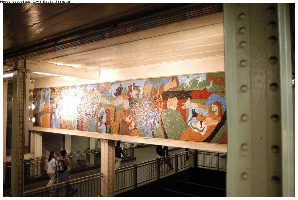 (156k, 1044x701)<br><b>Country:</b> United States<br><b>City:</b> New York<br><b>System:</b> New York City Transit<br><b>Line:</b> BMT Broadway Line<br><b>Location:</b> Times Square/42nd Street<br><b>Photo by:</b> David Pirmann<br><b>Date:</b> 4/17/2004<br><b>Artwork:</b> <i>New York in Transit</i>, Jacob Lawrence, 2001<br><b>Viewed (this week/total):</b> 2 / 6726