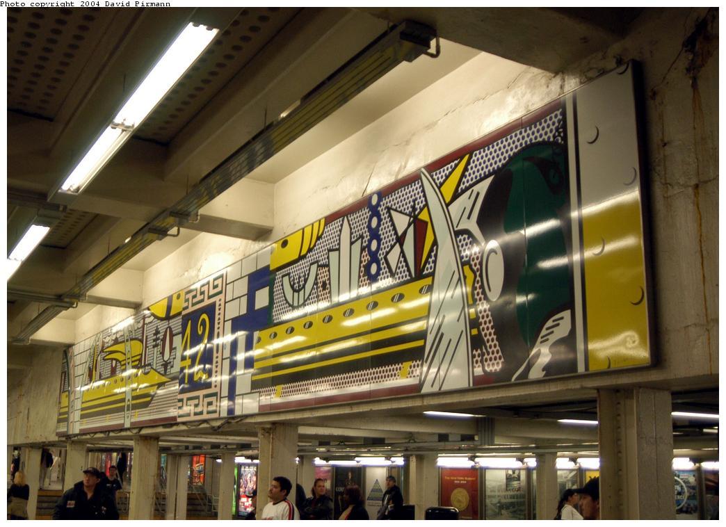 (170k, 1044x758)<br><b>Country:</b> United States<br><b>City:</b> New York<br><b>System:</b> New York City Transit<br><b>Line:</b> IRT Times Square-Grand Central Shuttle<br><b>Location:</b> Times Square<br><b>Photo by:</b> David Pirmann<br><b>Date:</b> 4/17/2004<br><b>Artwork:</b> <i>Times Square Mural</i>, Roy Lichtenstein, 1994<br><b>Viewed (this week/total):</b> 2 / 6717