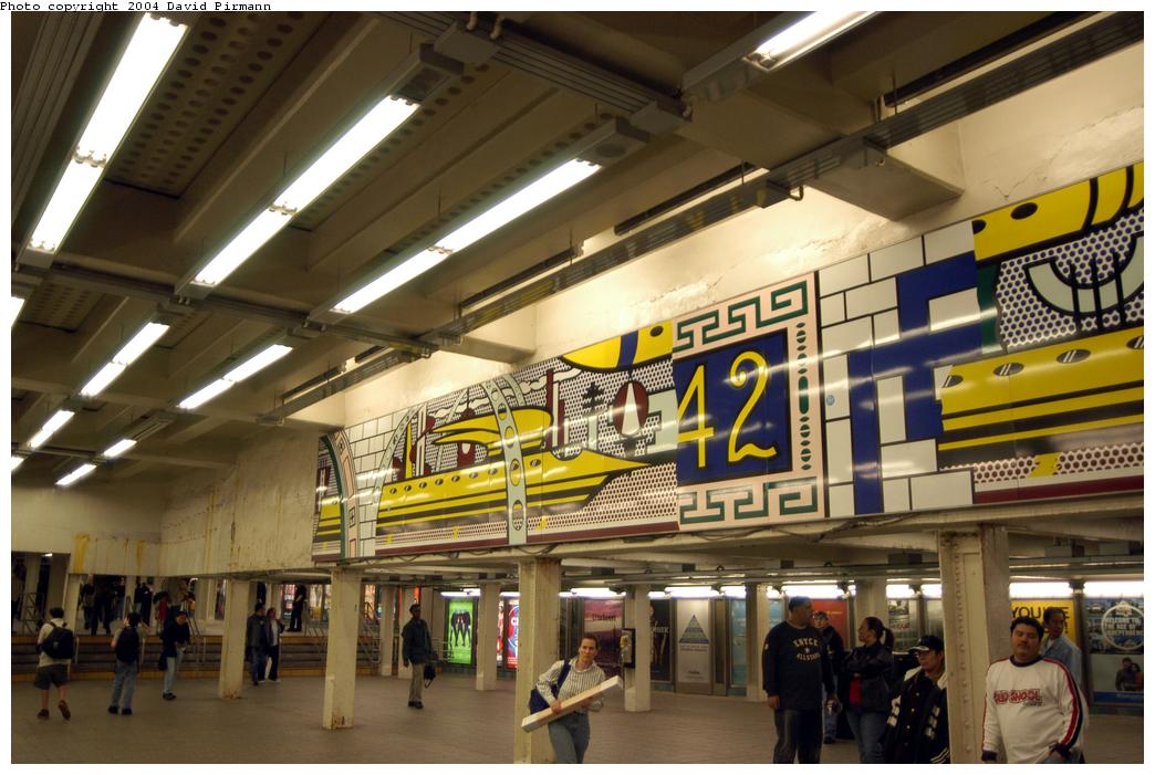 (159k, 1044x701)<br><b>Country:</b> United States<br><b>City:</b> New York<br><b>System:</b> New York City Transit<br><b>Line:</b> IRT Times Square-Grand Central Shuttle<br><b>Location:</b> Times Square<br><b>Photo by:</b> David Pirmann<br><b>Date:</b> 4/17/2004<br><b>Artwork:</b> <i>Times Square Mural</i>, Roy Lichtenstein, 1994<br><b>Viewed (this week/total):</b> 3 / 8201