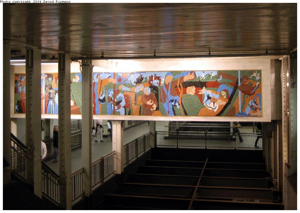 (162k, 1044x743)<br><b>Country:</b> United States<br><b>City:</b> New York<br><b>System:</b> New York City Transit<br><b>Line:</b> BMT Broadway Line<br><b>Location:</b> Times Square/42nd Street<br><b>Photo by:</b> David Pirmann<br><b>Date:</b> 4/17/2004<br><b>Artwork:</b> <i>New York in Transit</i>, Jacob Lawrence, 2001<br><b>Viewed (this week/total):</b> 2 / 7738