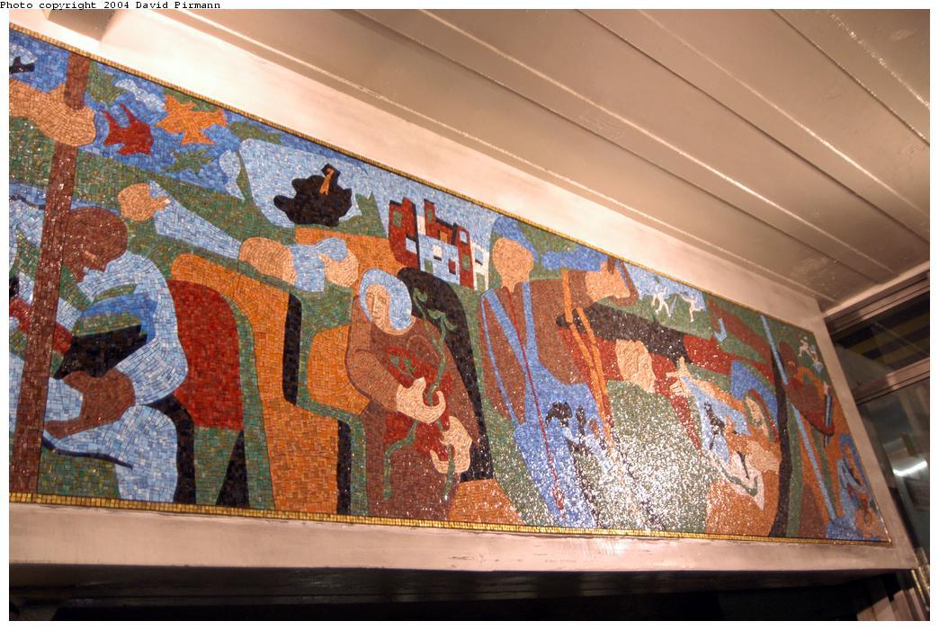 (173k, 1044x701)<br><b>Country:</b> United States<br><b>City:</b> New York<br><b>System:</b> New York City Transit<br><b>Line:</b> BMT Broadway Line<br><b>Location:</b> Times Square/42nd Street<br><b>Photo by:</b> David Pirmann<br><b>Date:</b> 4/17/2004<br><b>Artwork:</b> <i>New York in Transit</i>, Jacob Lawrence, 2001<br><b>Viewed (this week/total):</b> 4 / 8093