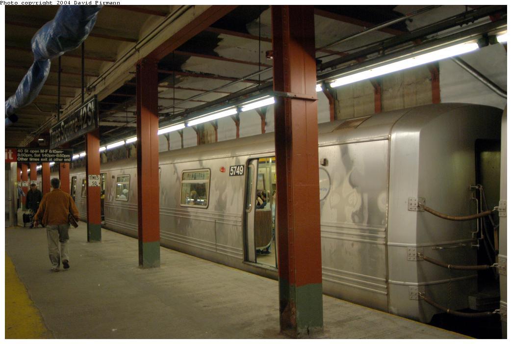 (134k, 1044x701)<br><b>Country:</b> United States<br><b>City:</b> New York<br><b>System:</b> New York City Transit<br><b>Line:</b> BMT Broadway Line<br><b>Location:</b> Times Square/42nd Street<br><b>Route:</b> R<br><b>Car:</b> R-46 (Pullman-Standard, 1974-75) 5749 <br><b>Photo by:</b> David Pirmann<br><b>Date:</b> 4/17/2004<br><b>Viewed (this week/total):</b> 2 / 6947