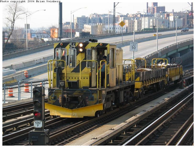 (109k, 820x620)<br><b>Country:</b> United States<br><b>City:</b> New York<br><b>System:</b> New York City Transit<br><b>Line:</b> IRT Pelham Line<br><b>Location:</b> Whitlock Avenue<br><b>Car:</b> R-41 Locomotive 54 <br><b>Photo by:</b> Brian Weinberg<br><b>Date:</b> 4/18/2004<br><b>Viewed (this week/total):</b> 3 / 4463