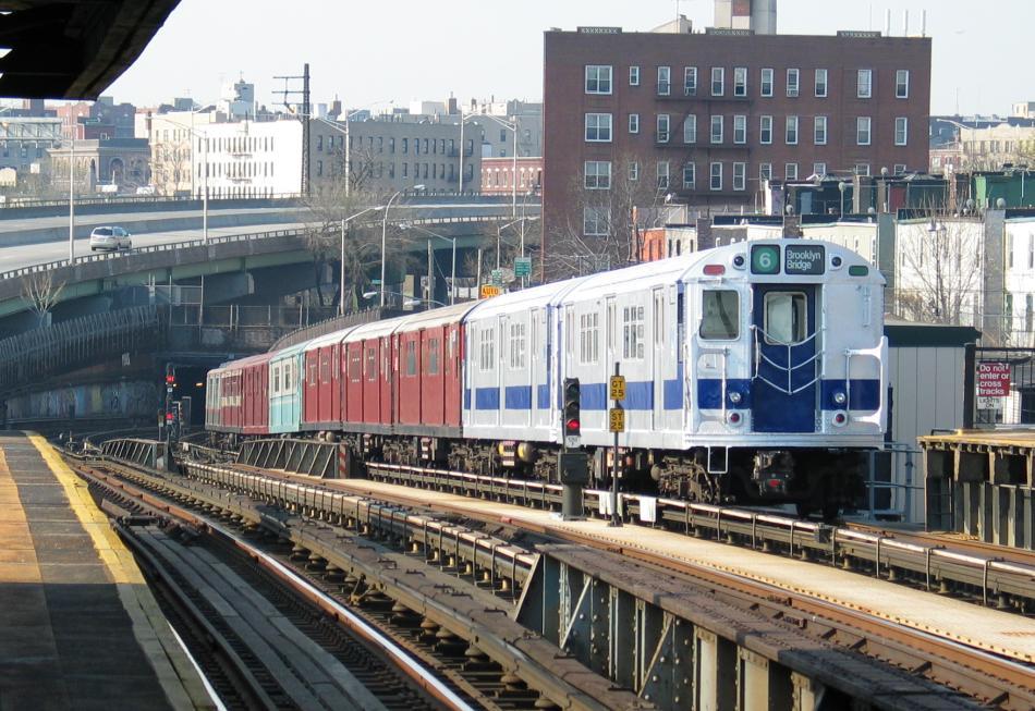 (120k, 950x653)<br><b>Country:</b> United States<br><b>City:</b> New York<br><b>System:</b> New York City Transit<br><b>Line:</b> IRT Pelham Line<br><b>Location:</b> Whitlock Avenue<br><b>Route:</b> Fan Trip<br><b>Car:</b> R-33 Main Line (St. Louis, 1962-63) 9010 <br><b>Photo by:</b> David of Broadway<br><b>Date:</b> 4/18/2004<br><b>Viewed (this week/total):</b> 3 / 5336