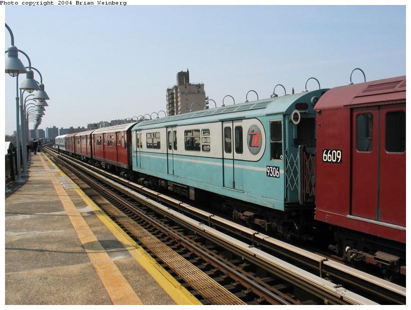 (87k, 820x620)<br><b>Country:</b> United States<br><b>City:</b> New York<br><b>System:</b> New York City Transit<br><b>Line:</b> IRT West Side Line<br><b>Location:</b> 238th Street<br><b>Route:</b> Fan Trip<br><b>Car:</b> R-33 World's Fair (St. Louis, 1963-64) 9306 <br><b>Photo by:</b> Brian Weinberg<br><b>Date:</b> 4/18/2004<br><b>Viewed (this week/total):</b> 2 / 3333