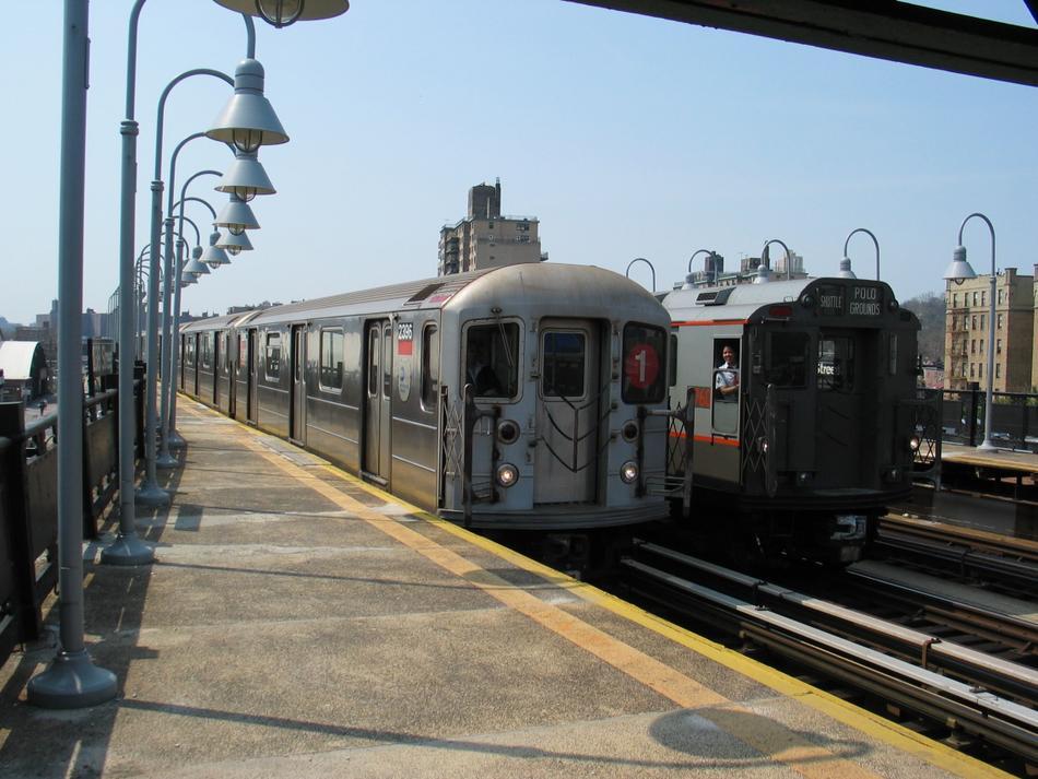 (100k, 950x713)<br><b>Country:</b> United States<br><b>City:</b> New York<br><b>System:</b> New York City Transit<br><b>Line:</b> IRT West Side Line<br><b>Location:</b> 238th Street<br><b>Route:</b> 1<br><b>Car:</b> R-62A (Bombardier, 1984-1987) 2396 <br><b>Photo by:</b> David of Broadway<br><b>Date:</b> 4/18/2004<br><b>Viewed (this week/total):</b> 2 / 3754