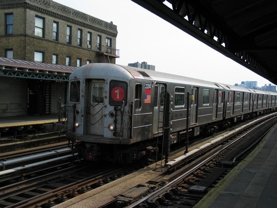 (114k, 950x713)<br><b>Country:</b> United States<br><b>City:</b> New York<br><b>System:</b> New York City Transit<br><b>Line:</b> IRT West Side Line<br><b>Location:</b> 238th Street<br><b>Route:</b> 1<br><b>Car:</b> R-62A (Bombardier, 1984-1987) 2200 <br><b>Photo by:</b> David of Broadway<br><b>Date:</b> 4/18/2004<br><b>Viewed (this week/total):</b> 2 / 3771