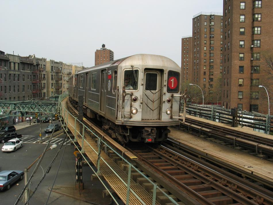 (120k, 950x713)<br><b>Country:</b> United States<br><b>City:</b> New York<br><b>System:</b> New York City Transit<br><b>Line:</b> IRT West Side Line<br><b>Location:</b> Dyckman Street<br><b>Route:</b> 1<br><b>Car:</b> R-62A (Bombardier, 1984-1987) 2256 <br><b>Photo by:</b> David of Broadway<br><b>Date:</b> 4/18/2004<br><b>Viewed (this week/total):</b> 3 / 14063