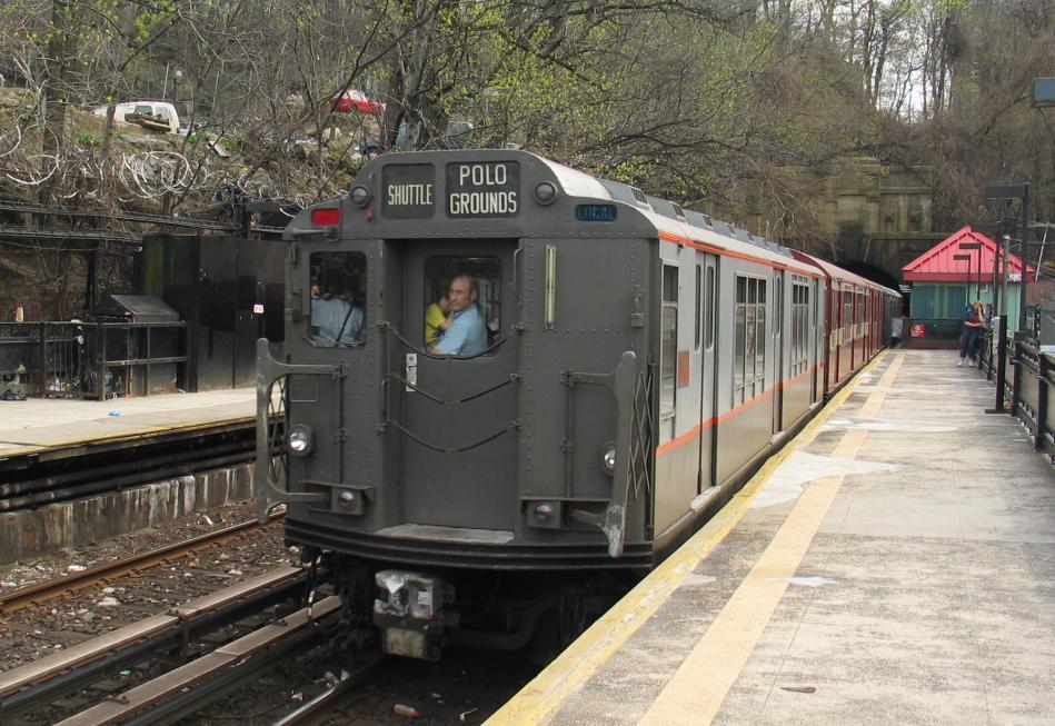 (116k, 949x653)<br><b>Country:</b> United States<br><b>City:</b> New York<br><b>System:</b> New York City Transit<br><b>Line:</b> IRT West Side Line<br><b>Location:</b> Dyckman Street<br><b>Route:</b> Fan Trip<br><b>Car:</b> R-12 (American Car & Foundry, 1948) 5760 <br><b>Photo by:</b> David of Broadway<br><b>Date:</b> 4/18/2004<br><b>Viewed (this week/total):</b> 2 / 4142