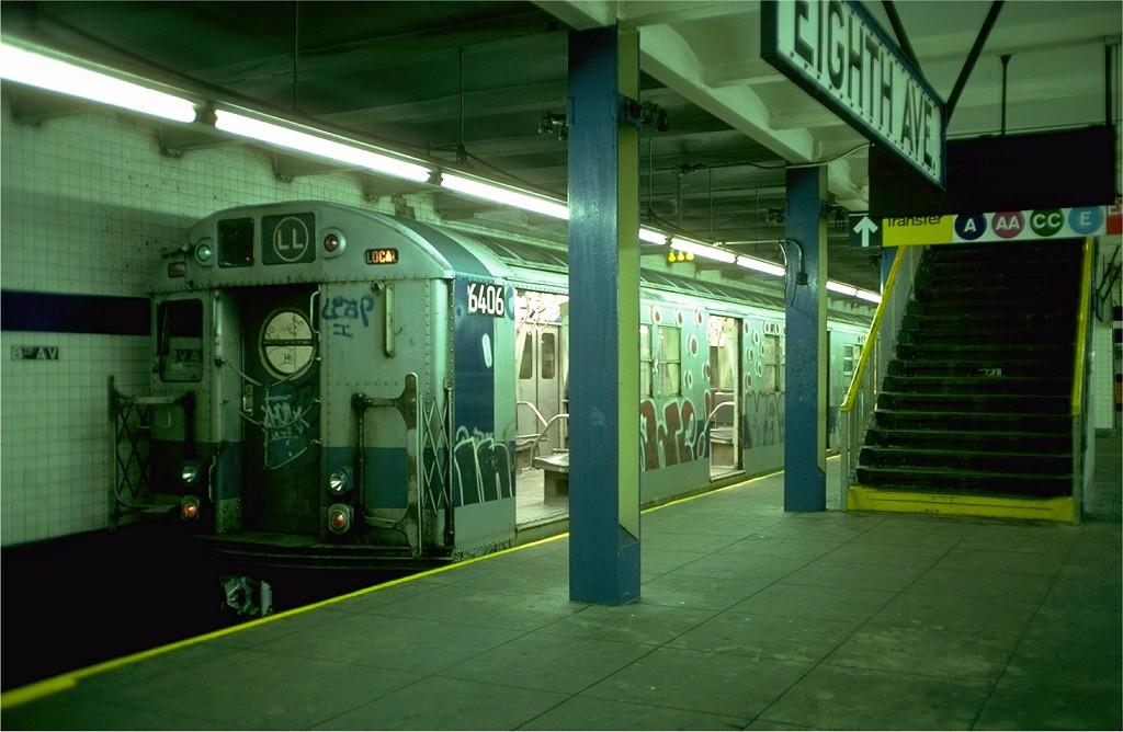 (165k, 1024x668)<br><b>Country:</b> United States<br><b>City:</b> New York<br><b>System:</b> New York City Transit<br><b>Line:</b> BMT Canarsie Line<br><b>Location:</b> 8th Avenue<br><b>Route:</b> LL<br><b>Car:</b> R-16 (American Car & Foundry, 1955) 6406 <br><b>Photo by:</b> Doug Grotjahn<br><b>Collection of:</b> Joe Testagrose<br><b>Date:</b> 10/31/1976<br><b>Viewed (this week/total):</b> 0 / 4998