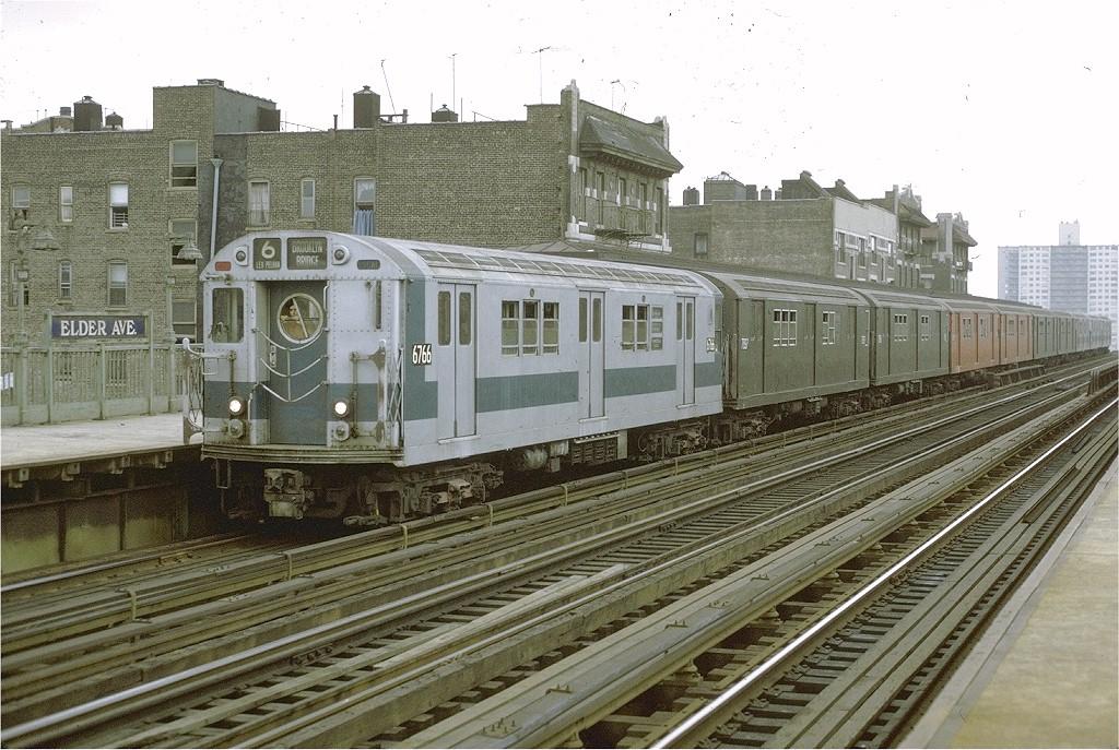 (239k, 1024x687)<br><b>Country:</b> United States<br><b>City:</b> New York<br><b>System:</b> New York City Transit<br><b>Line:</b> IRT Pelham Line<br><b>Location:</b> Elder Avenue<br><b>Route:</b> 6<br><b>Car:</b> R-17 (St. Louis, 1955-56) 6766 <br><b>Photo by:</b> Joe Testagrose<br><b>Date:</b> 9/20/1971<br><b>Viewed (this week/total):</b> 1 / 3670