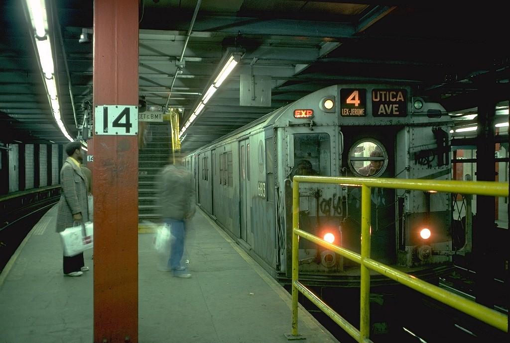 (193k, 1024x690)<br><b>Country:</b> United States<br><b>City:</b> New York<br><b>System:</b> New York City Transit<br><b>Line:</b> IRT East Side Line<br><b>Location:</b> 14th Street/Union Square<br><b>Route:</b> 4<br><b>Car:</b> R-17 (St. Louis, 1955-56) 6813 <br><b>Photo by:</b> Doug Grotjahn<br><b>Collection of:</b> Joe Testagrose<br><b>Date:</b> 2/12/1977<br><b>Viewed (this week/total):</b> 3 / 7982