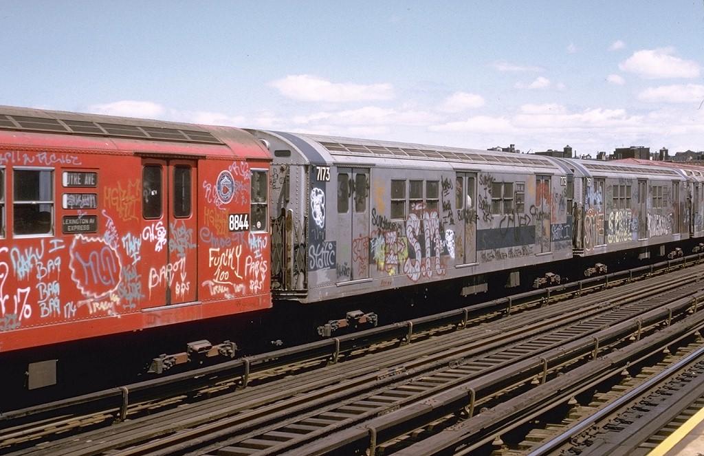 (217k, 1024x663)<br><b>Country:</b> United States<br><b>City:</b> New York<br><b>System:</b> New York City Transit<br><b>Line:</b> IRT White Plains Road Line<br><b>Location:</b> Intervale Avenue<br><b>Route:</b> 5<br><b>Car:</b> R-21 (St. Louis, 1956-57) 7173 <br><b>Photo by:</b> Joe Testagrose<br><b>Date:</b> 5/6/1973<br><b>Viewed (this week/total):</b> 1 / 4238