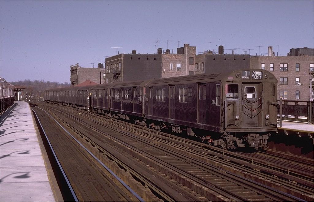 (201k, 1024x660)<br><b>Country:</b> United States<br><b>City:</b> New York<br><b>System:</b> New York City Transit<br><b>Line:</b> IRT West Side Line<br><b>Location:</b> 238th Street<br><b>Route:</b> 1<br><b>Car:</b> R-21 (St. Louis, 1956-57) 7204 <br><b>Photo by:</b> Joe Testagrose<br><b>Date:</b> 5/29/1971<br><b>Viewed (this week/total):</b> 0 / 3265