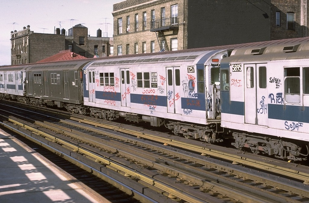 (241k, 1024x672)<br><b>Country:</b> United States<br><b>City:</b> New York<br><b>System:</b> New York City Transit<br><b>Line:</b> IRT West Side Line<br><b>Location:</b> 238th Street<br><b>Route:</b> 1<br><b>Car:</b> R-21 (St. Louis, 1956-57) 7257 <br><b>Photo by:</b> Joe Testagrose<br><b>Date:</b> 6/10/1972<br><b>Viewed (this week/total):</b> 1 / 3367