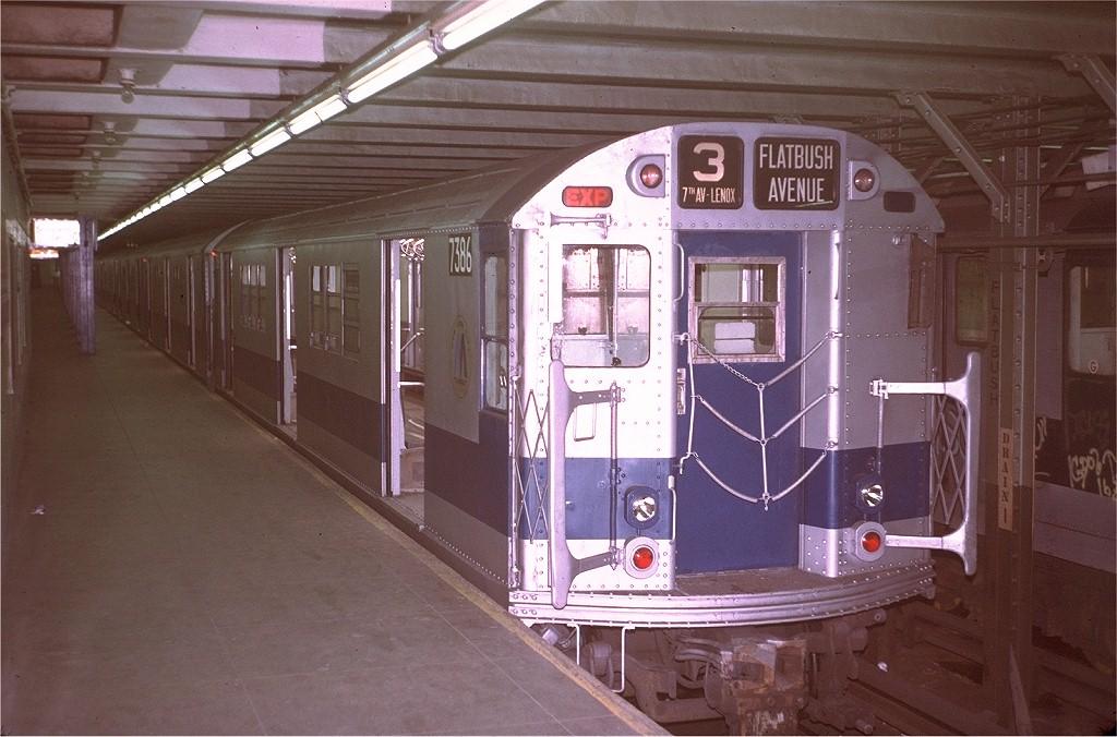 (193k, 1024x676)<br><b>Country:</b> United States<br><b>City:</b> New York<br><b>System:</b> New York City Transit<br><b>Line:</b> IRT Brooklyn Line<br><b>Location:</b> Flatbush Avenue<br><b>Route:</b> 3<br><b>Car:</b> R-22 (St. Louis, 1957-58) 7386 <br><b>Photo by:</b> Steve Zabel<br><b>Collection of:</b> Joe Testagrose<br><b>Date:</b> 8/6/1972<br><b>Viewed (this week/total):</b> 1 / 5748