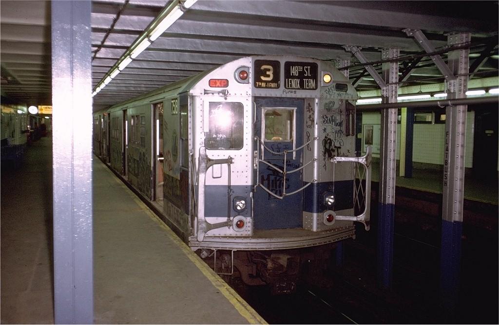 (186k, 1024x668)<br><b>Country:</b> United States<br><b>City:</b> New York<br><b>System:</b> New York City Transit<br><b>Line:</b> IRT Brooklyn Line<br><b>Location:</b> Flatbush Avenue<br><b>Route:</b> 3<br><b>Car:</b> R-22 (St. Louis, 1957-58) 7518 <br><b>Photo by:</b> Doug Grotjahn<br><b>Collection of:</b> Joe Testagrose<br><b>Date:</b> 5/6/1973<br><b>Viewed (this week/total):</b> 0 / 5743