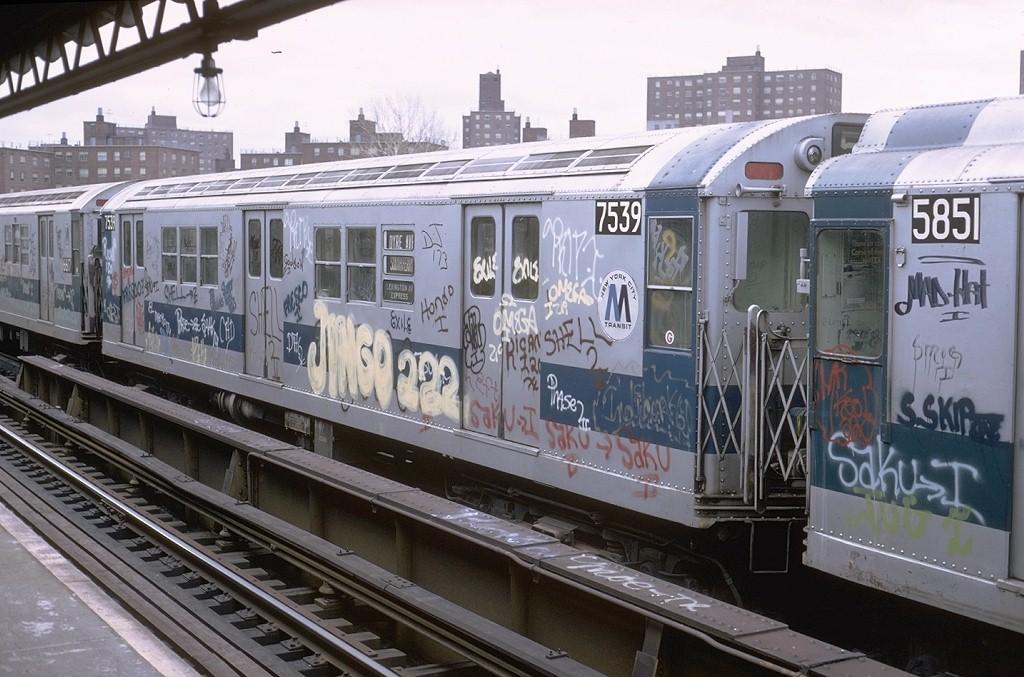 (205k, 1024x677)<br><b>Country:</b> United States<br><b>City:</b> New York<br><b>System:</b> New York City Transit<br><b>Line:</b> IRT White Plains Road Line<br><b>Location:</b> Burke Avenue<br><b>Route:</b> 5<br><b>Car:</b> R-22 (St. Louis, 1957-58) 7539 <br><b>Photo by:</b> Steve Zabel<br><b>Collection of:</b> Joe Testagrose<br><b>Date:</b> 2/3/1973<br><b>Viewed (this week/total):</b> 1 / 5324