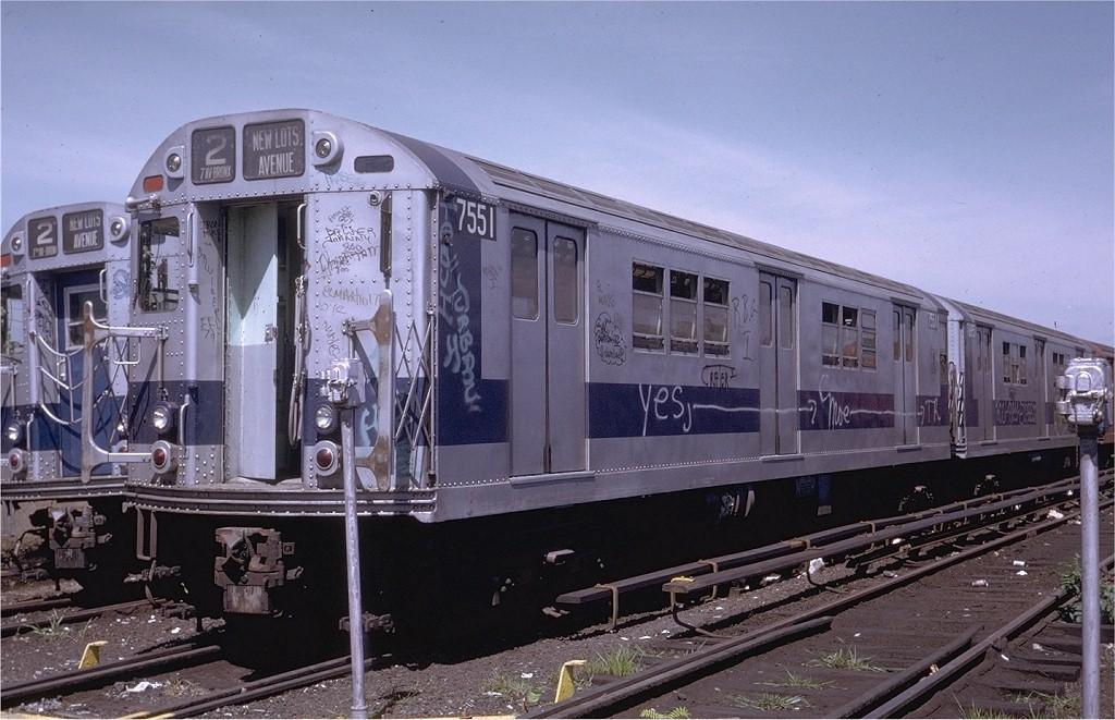 (199k, 1024x661)<br><b>Country:</b> United States<br><b>City:</b> New York<br><b>System:</b> New York City Transit<br><b>Location:</b> Livonia Yard<br><b>Car:</b> R-22 (St. Louis, 1957-58) 7551 <br><b>Photo by:</b> Steve Zabel<br><b>Collection of:</b> Joe Testagrose<br><b>Date:</b> 8/6/1972<br><b>Viewed (this week/total):</b> 0 / 8877