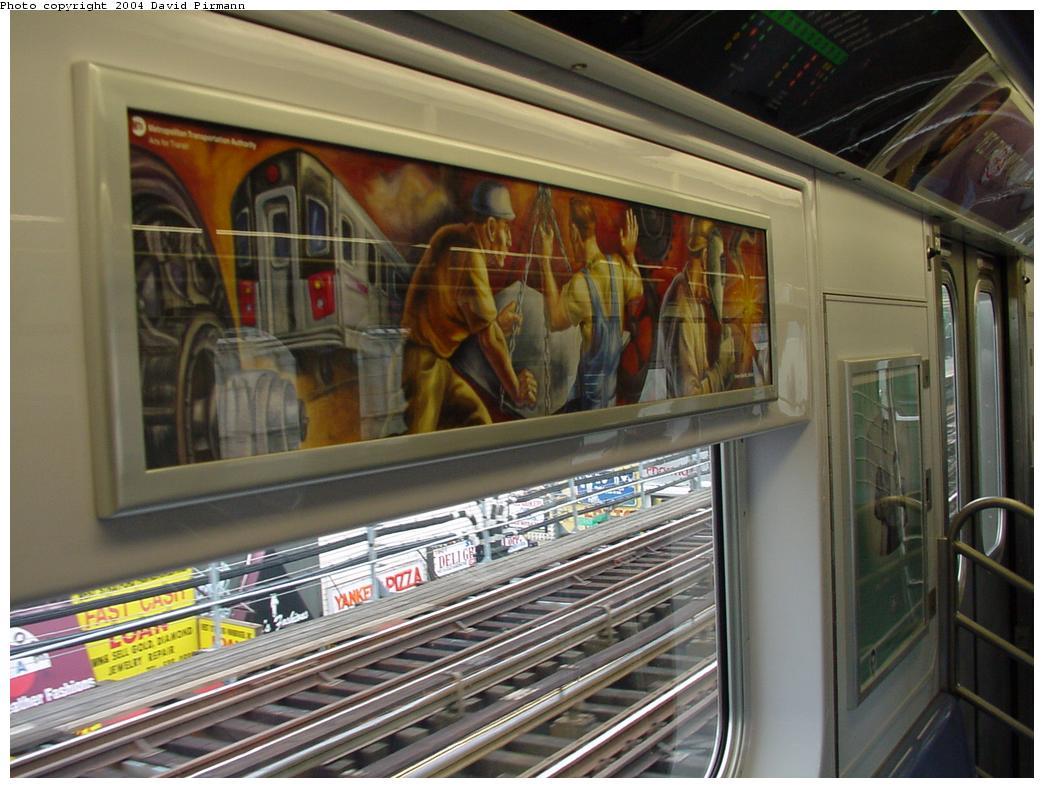 (127k, 1044x788)<br><b>Country:</b> United States<br><b>City:</b> New York<br><b>System:</b> New York City Transit<br><b>Location:</b> Subway Car Interior Art<br><b>Car:</b> R-142 or R-142A (Number Unknown)  <br><b>Photo by:</b> David Pirmann<br><b>Date:</b> 7/29/2000<br><b>Artwork:</b> <i>Subway Builders</i>, Owen Smith<br><b>Notes:</b> Interior showing artwork by artist Owen Smith, who created the subway builder mosaics at 36th Street Brooklyn<br><b>Viewed (this week/total):</b> 3 / 17016