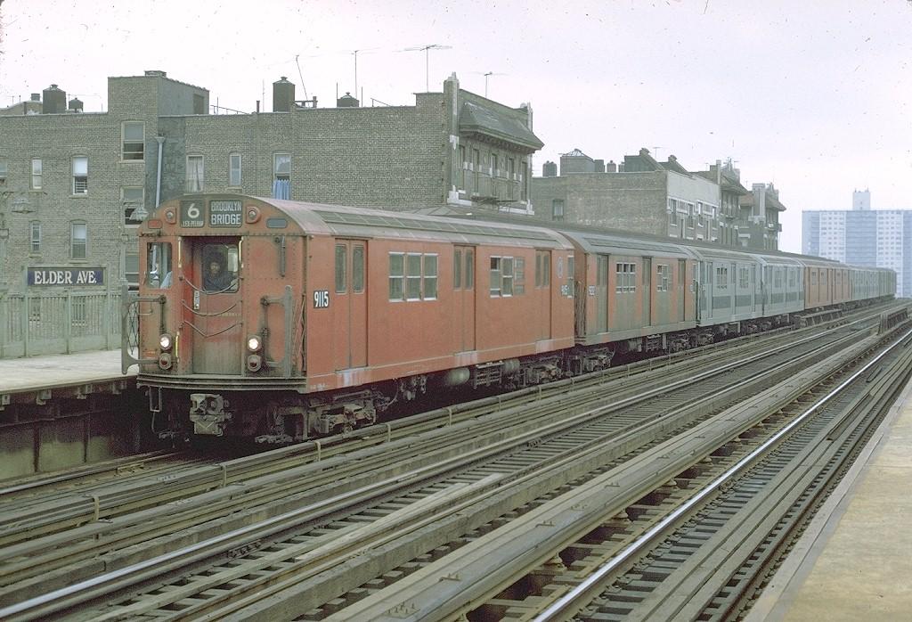 (243k, 1024x698)<br><b>Country:</b> United States<br><b>City:</b> New York<br><b>System:</b> New York City Transit<br><b>Line:</b> IRT Pelham Line<br><b>Location:</b> Elder Avenue<br><b>Route:</b> 6<br><b>Car:</b> R-33 Main Line (St. Louis, 1962-63) 9115 <br><b>Photo by:</b> Joe Testagrose<br><b>Date:</b> 9/20/1971<br><b>Viewed (this week/total):</b> 0 / 4741