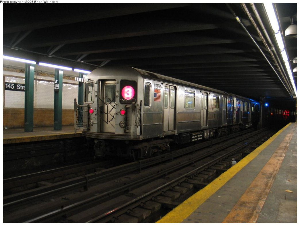 (132k, 1044x788)<br><b>Country:</b> United States<br><b>City:</b> New York<br><b>System:</b> New York City Transit<br><b>Line:</b> IRT Lenox Avenue Line<br><b>Location:</b> 145th Street<br><b>Route:</b> 3<br><b>Car:</b> R-62 (Kawasaki, 1983-1985) 1450 <br><b>Photo by:</b> Brian Weinberg<br><b>Date:</b> 5/17/2004<br><b>Viewed (this week/total):</b> 4 / 7519