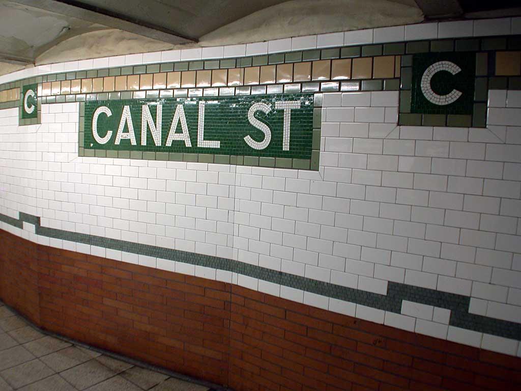 (72k, 1024x768)<br><b>Country:</b> United States<br><b>City:</b> New York<br><b>System:</b> New York City Transit<br><b>Line:</b> IRT East Side Line<br><b>Location:</b> Canal Street<br><b>Photo by:</b> Josh Lubchansky<br><b>Date:</b> 5/2004<br><b>Notes:</b> Small name mosaic tablet<br><b>Viewed (this week/total):</b> 1 / 3935