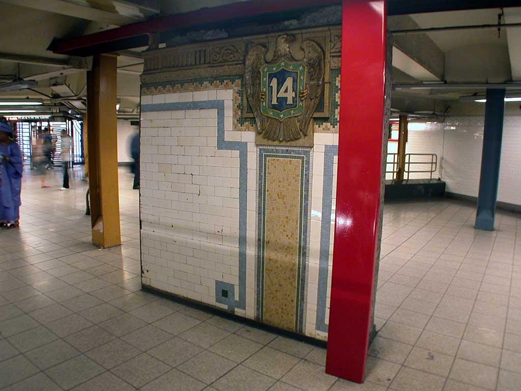 (72k, 1024x768)<br><b>Country:</b> United States<br><b>City:</b> New York<br><b>System:</b> New York City Transit<br><b>Line:</b> IRT East Side Line<br><b>Location:</b> 14th Street/Union Square<br><b>Photo by:</b> Josh Lubchansky<br><b>Date:</b> 5/2004<br><b>Artwork:</b> <i>Framing Union Square</i>, Mary Miss, 1998<br><b>Viewed (this week/total):</b> 2 / 4783