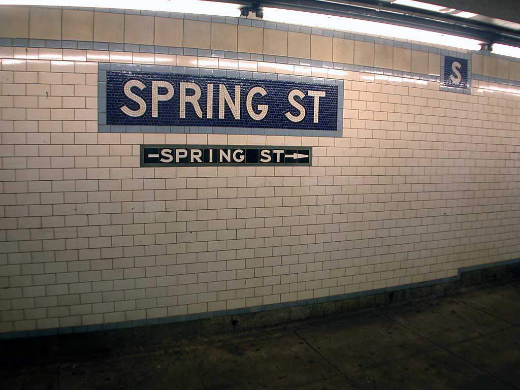 (77k, 1024x768)<br><b>Country:</b> United States<br><b>City:</b> New York<br><b>System:</b> New York City Transit<br><b>Line:</b> IRT East Side Line<br><b>Location:</b> Spring Street<br><b>Photo by:</b> Josh Lubchansky<br><b>Date:</b> 5/2004<br><b>Notes:</b> Name tablet, Heins & LaFarge/Manhattan Glass Tile Company, 1904. Original design element, Contract 1 IRT.<br><b>Viewed (this week/total):</b> 0 / 2813