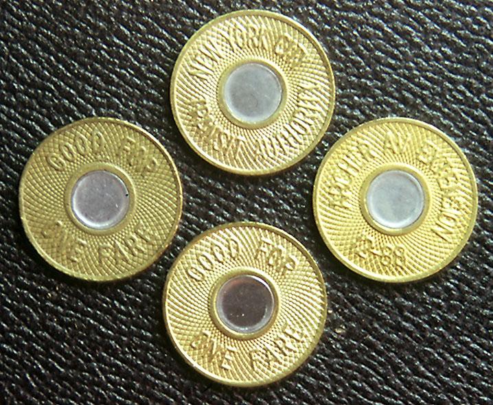 (212k, 718x590)<br><b>Country:</b> United States<br><b>City:</b> New York<br><b>System:</b> New York City Transit<br><b>Collection of:</b> George Cuhaj<br><b>Notes:</b> 1986 NYCTA Bullseye tokens<br><b>Viewed (this week/total):</b> 3 / 10142