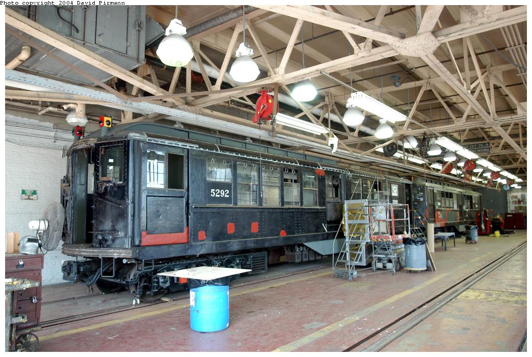 (184k, 1044x701)<br><b>Country:</b> United States<br><b>City:</b> New York<br><b>System:</b> New York City Transit<br><b>Location:</b> Coney Island Shop-Paint Shop<br><b>Car:</b> Low-V (Museum Train) 5292 <br><b>Photo by:</b> David Pirmann<br><b>Date:</b> 6/13/2004<br><b>Notes:</b> In the paint shop.<br><b>Viewed (this week/total):</b> 2 / 8594