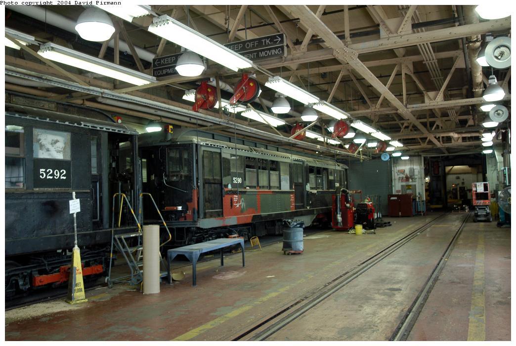 (165k, 1044x701)<br><b>Country:</b> United States<br><b>City:</b> New York<br><b>System:</b> New York City Transit<br><b>Location:</b> Coney Island Shop-Paint Shop<br><b>Car:</b> Low-V (Museum Train) 5290 <br><b>Photo by:</b> David Pirmann<br><b>Date:</b> 6/13/2004<br><b>Notes:</b> In the paint shop.<br><b>Viewed (this week/total):</b> 1 / 6086