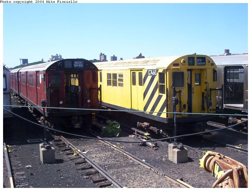 (94k, 820x624)<br><b>Country:</b> United States<br><b>City:</b> New York<br><b>System:</b> New York City Transit<br><b>Location:</b> 207th Street Yard<br><b>Car:</b> Garbage Motor (R-21/R-22 Rebuilds) G7460 <br><b>Photo by:</b> Mike Fioriello<br><b>Date:</b> 8/24/2003<br><b>Notes:</b> With WF-R36 9743<br><b>Viewed (this week/total):</b> 1 / 6052