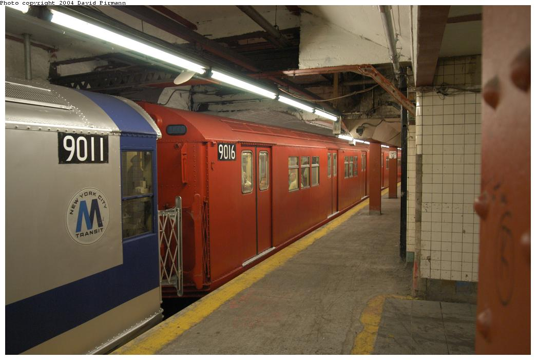 (136k, 1044x701)<br><b>Country:</b> United States<br><b>City:</b> New York<br><b>System:</b> New York City Transit<br><b>Line:</b> IRT Flushing Line<br><b>Location:</b> Times Square<br><b>Route:</b> Fan Trip<br><b>Car:</b> R-33 Main Line (St. Louis, 1962-63) 9016 <br><b>Photo by:</b> David Pirmann<br><b>Date:</b> 6/19/2004<br><b>Viewed (this week/total):</b> 0 / 4218